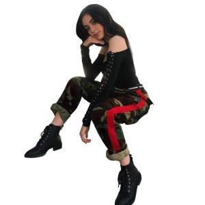 Women fashion ladies camo camouflage casual elastic high waist patchwork pants trouser with red stripe