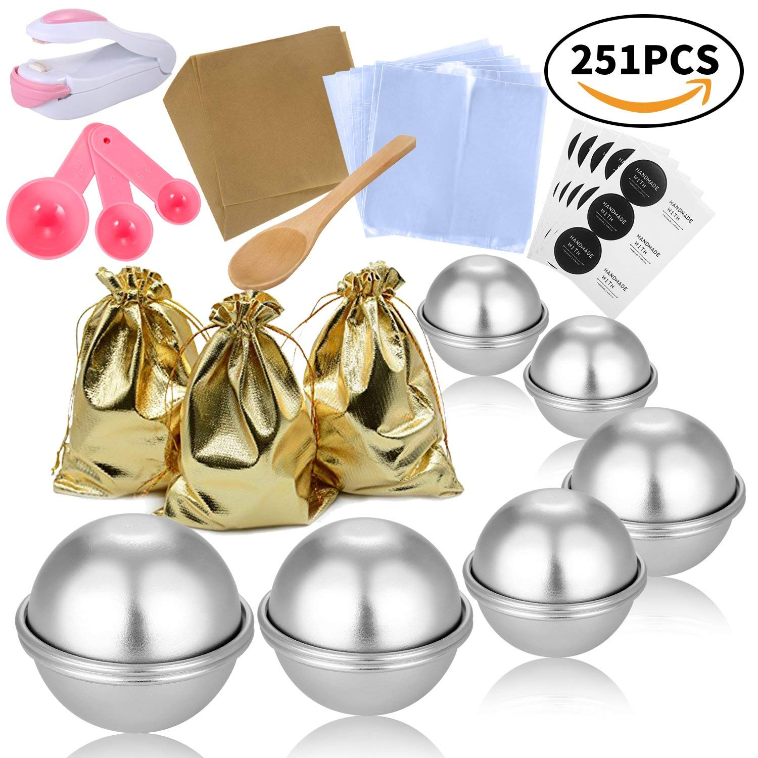 BEAVO 251 Pcs DIY Metal Bath Bomb Mold Set , Most Complete Set: 4 Size 12 Pcs Bath Bomb Molds, Wrapping papers, Shrink Wrap Bags, Gift Bags, Spoons and Mini Sealer - for Bath Bomb Making and Crafts