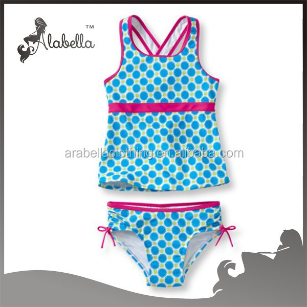 wholesale kids swimwear for girl's tide surfer swimsuit two pieces printed