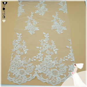 "100% polyester/white mesh/embroidery sequin rhinestone lace fabric 52""wide by the yard-DH-BF752"