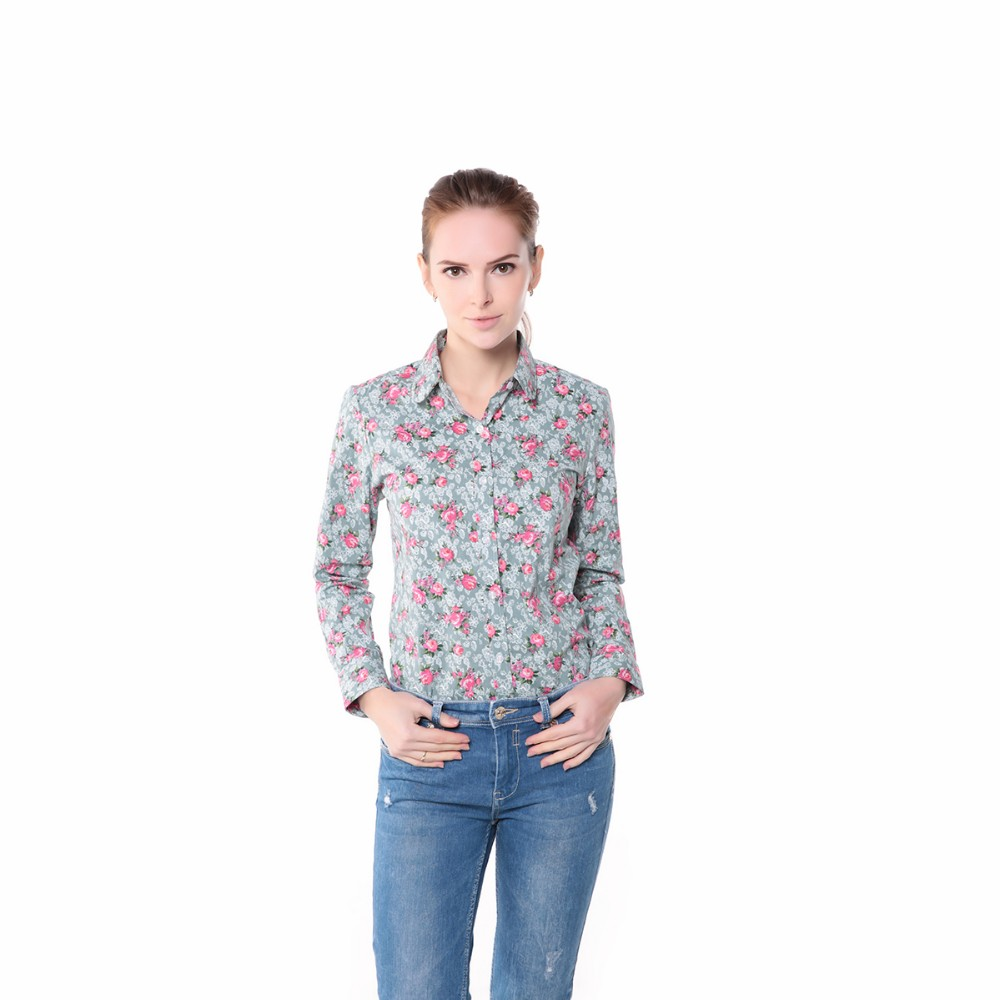 881c4124dc9 New 2014 Women Long Sleeve Blouse Polka Dot Shirts Cotton Made Slim ...