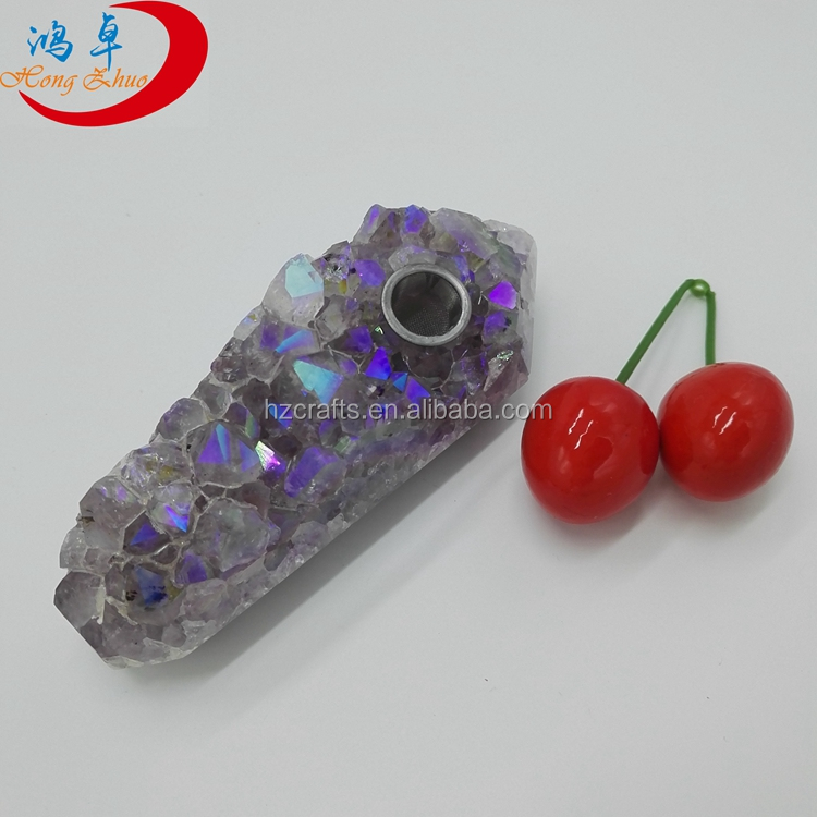 Aura Quartz Coated Crystal Rough Cluster Crystal Smoking Pipe For Sale