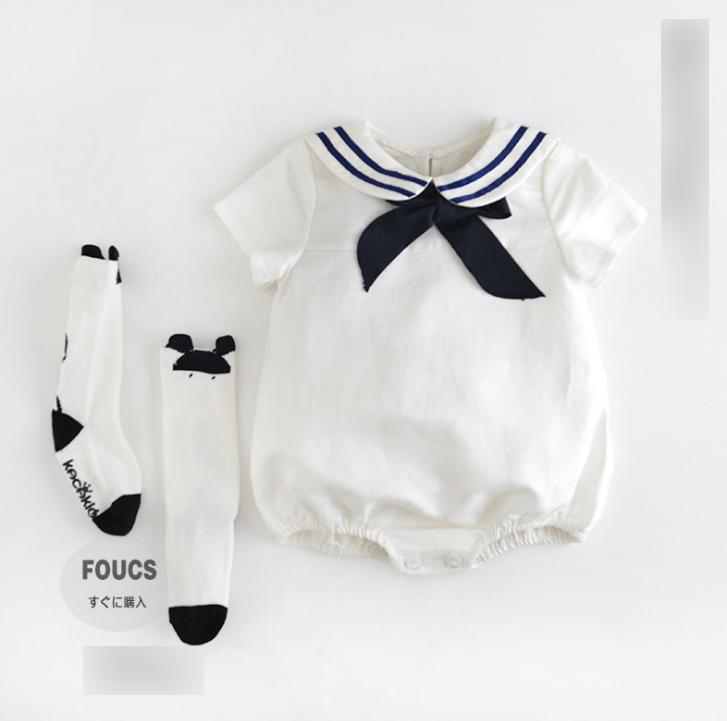 e6879b056281 Summer Short Sleeve Clothes Newborn Baby Sailor Romper Navy Suit ...