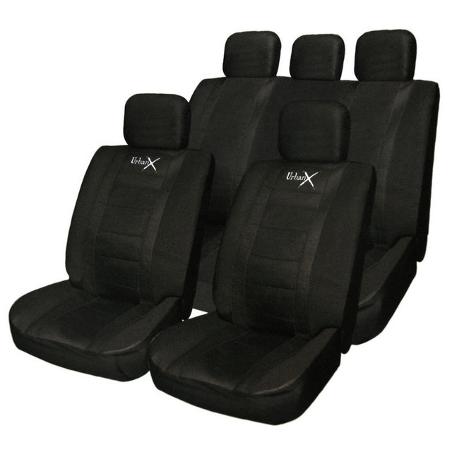 PU 2mm Synthetic Material Full Car Seat Covers Complete 11 Pieces Front Rear Covers For Crossovers SUV Sedans Black/Gray