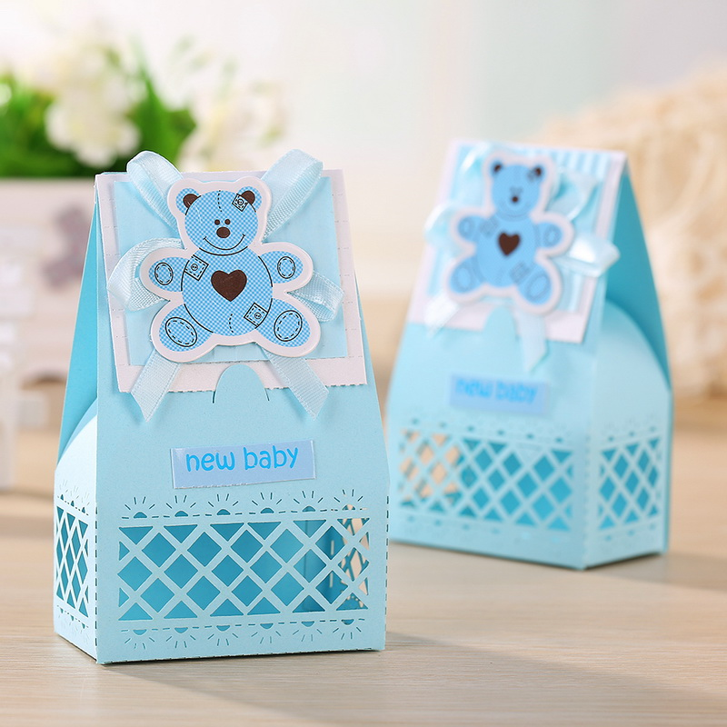 Pink And Blue Cute Baby Favors Boxes Baptism Bombonieres