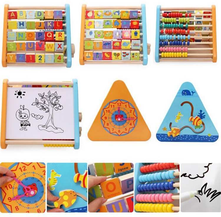 Customize good quality Multi-function learning educational toy wooden puzzle for kids
