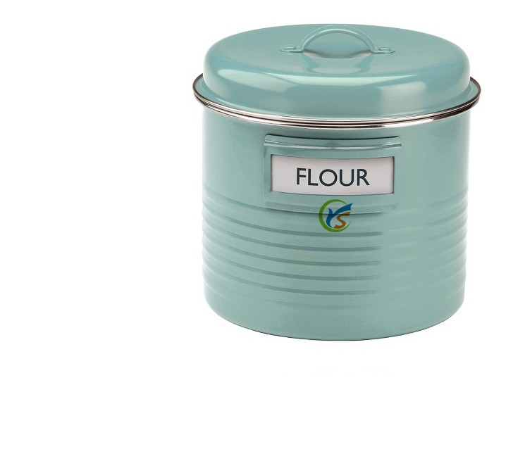Blue Round Metal Vintage Kitchen Flour Canister