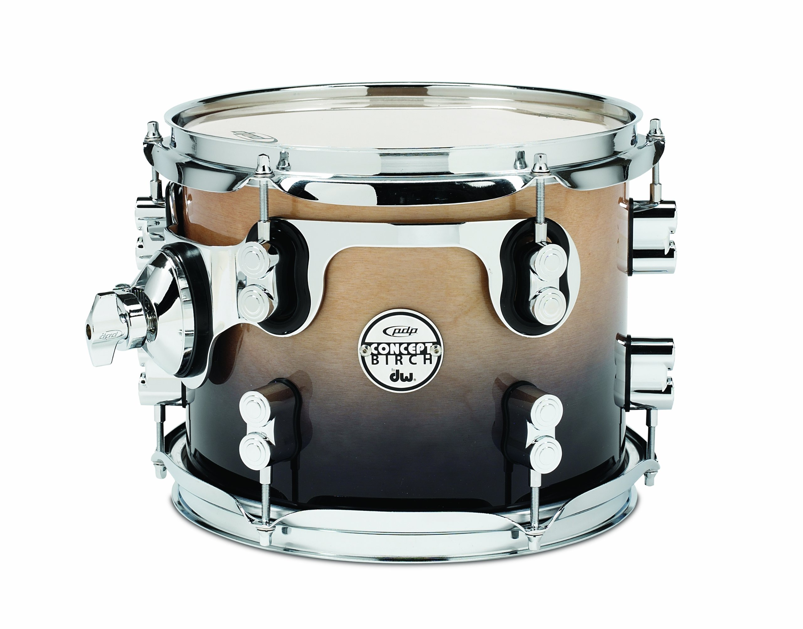 Pacific Drums PDCB0810STNC 8 x 10 Inches Tom with Chrome Hardware - Natural to Charcoal Fade