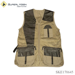 Full Mesh and Leather Shooting Vest Breathable Hunting Vest