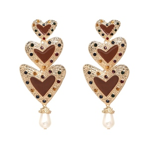 Gold Plated Jewelry Dangling Shaped Drop Pear 3 pcs Heart Statement Earrings