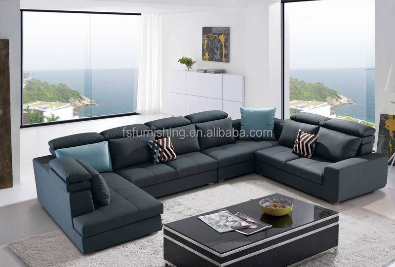 Md639 Modern Luxury European Style Dark Blue Velvet Linen Fabric Couch Furniture Big U Shape