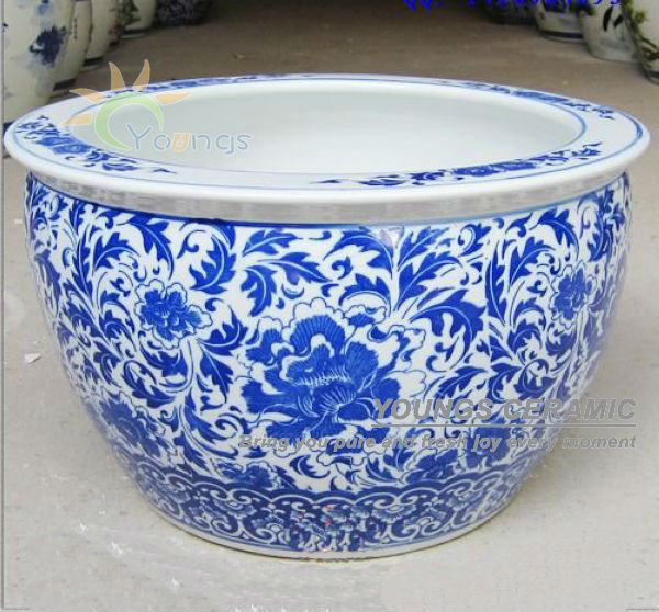 Large Chinese Blue And White Porcelain Fish Pot Indoor Planter