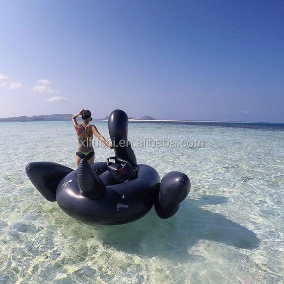 Hot Sale Inflatable BLACK Swan Giant Pool Water Float Swimming Toy Ride Raft Adulet Leisure Kids