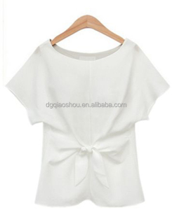 Hot sale cheap ladies short sleeve top womens white short blouse