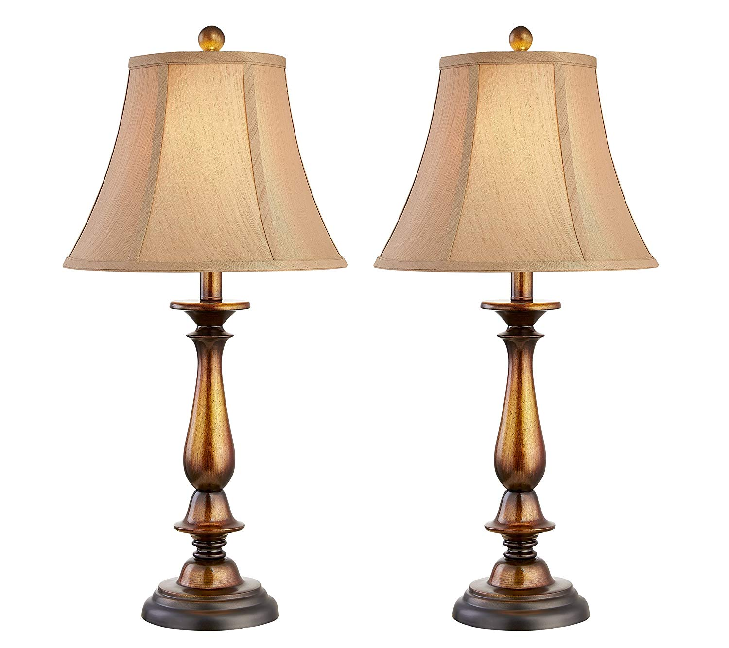 Table Lamp 27 Inches Height, dili home Desk Lamp Set of 2– Traditional Elegant Plastic Base with Hand Stitched Cotton Lampshade, Ambient Lighting Perfect for Living Room, Bedside Nightstand Light.