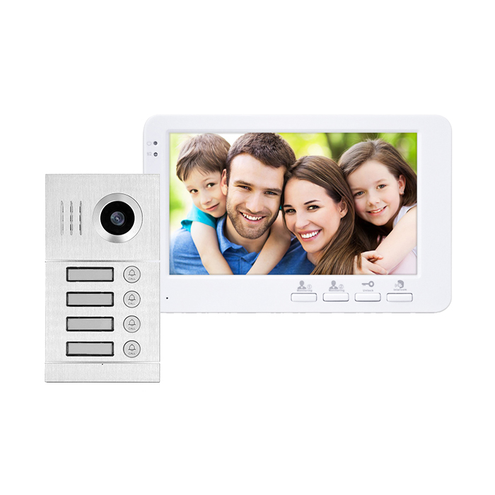 Multi appartementen video intercoms met 4 knoppen voor 4 familie video deur telefoon