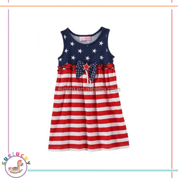 summer sleeveless blue five-pointed star ruffles bow stripes baby dress clothes