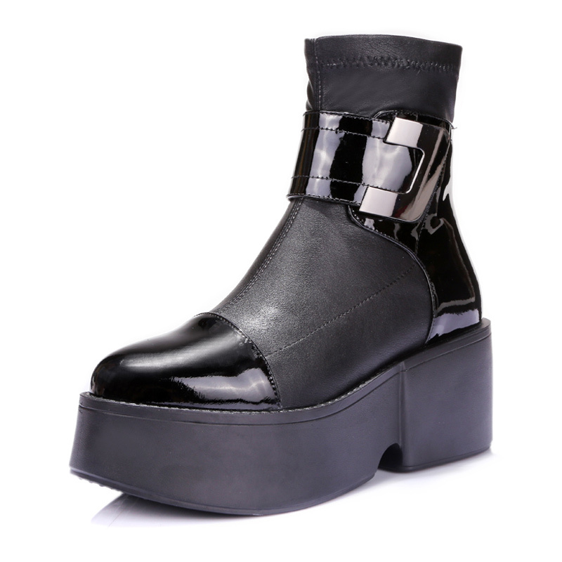 Top Selling New Brand Womens Boots Geunine Leather Ankle Boots Black Vintage Platform Shoes Woman Military Boots Femme A1-6023