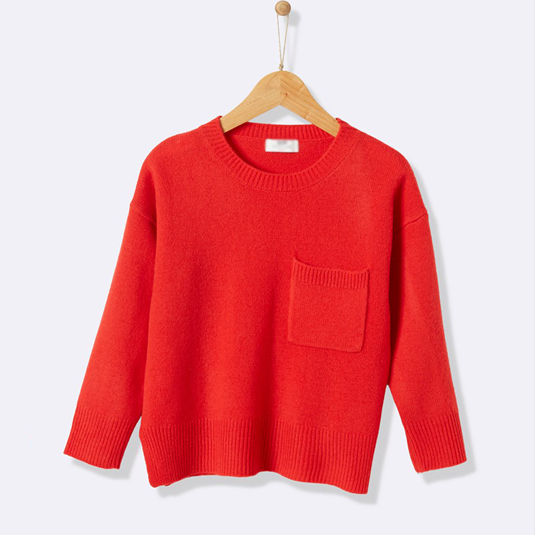 Red Color Merino Wool Sweater Girl Kids