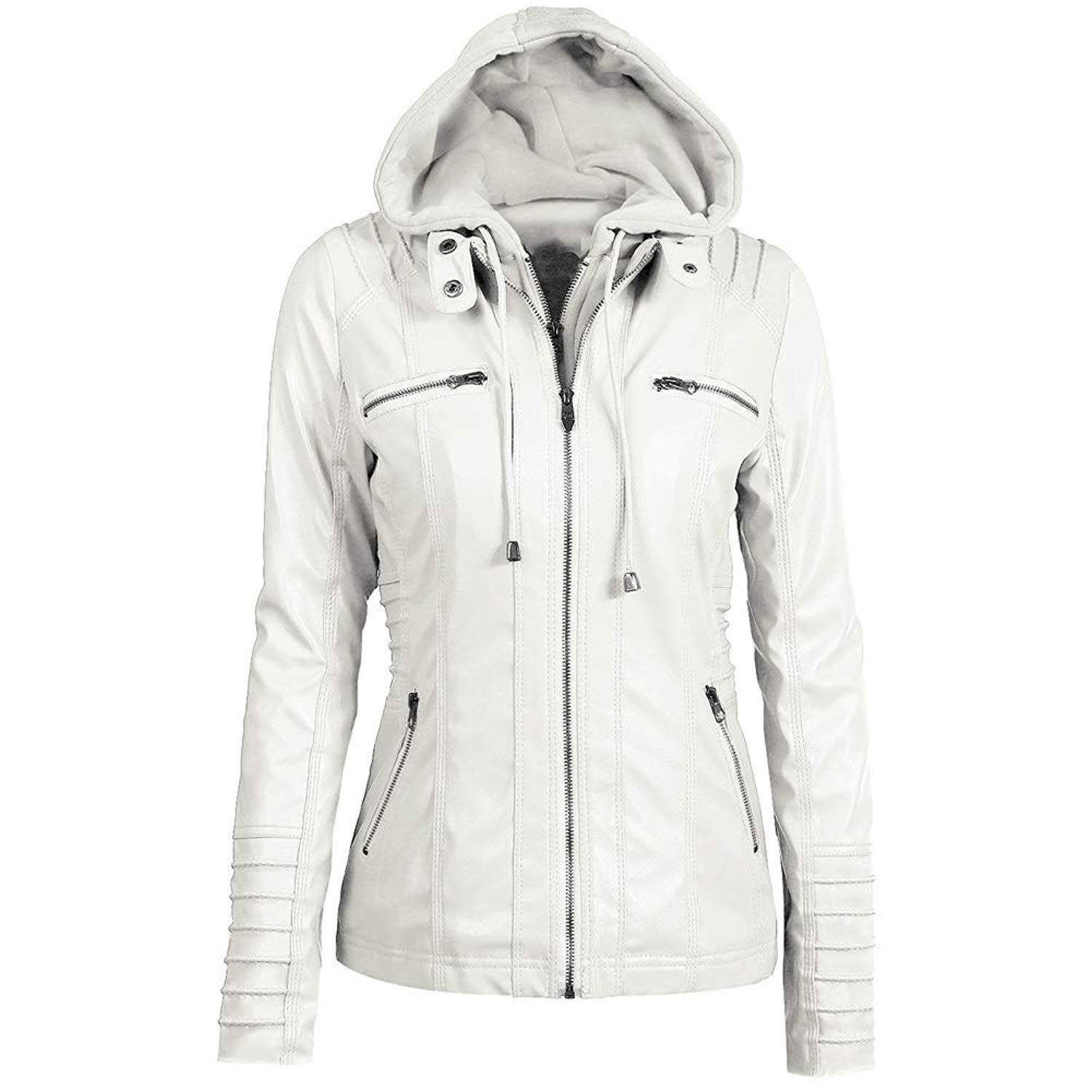 50486cae75d22 Get Quotations · Zuozee Womens Hoodie Jacket with Zip up Milttary Anorak  Slim Fit Leather Jacket 7XL