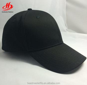 beeb79e844e Custom Blank Black Fitted Baseball Hat 6 Panel Flexfit Cap - Buy ...