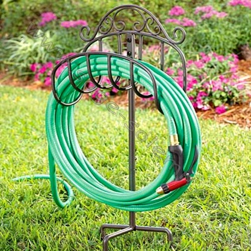 Garden Wrought Iron Reel Hose Holder with Stick