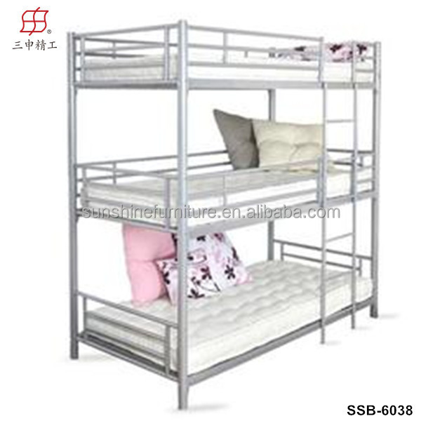 2017 Hot High Weight Capacity Metal Triple Bunk Bed With Stairs