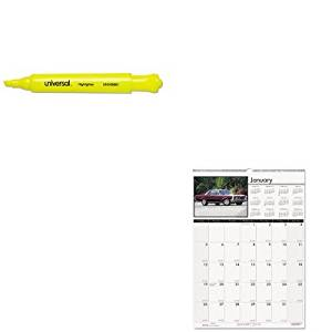 KITHOD3771UNV08861 - Value Kit - House Of Doolittle Classic Cars Monthly Wall Calendar (HOD3771) and Universal Desk Highlighter (UNV08861)