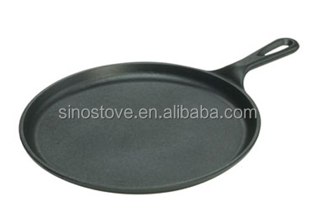 round cast iron griddle / grill with handle