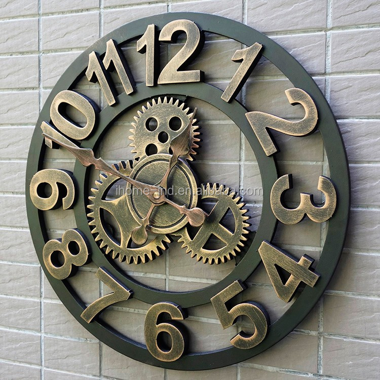 China Imports Mechanical Gear Wall Clock Retro Vintage Wall Clocks