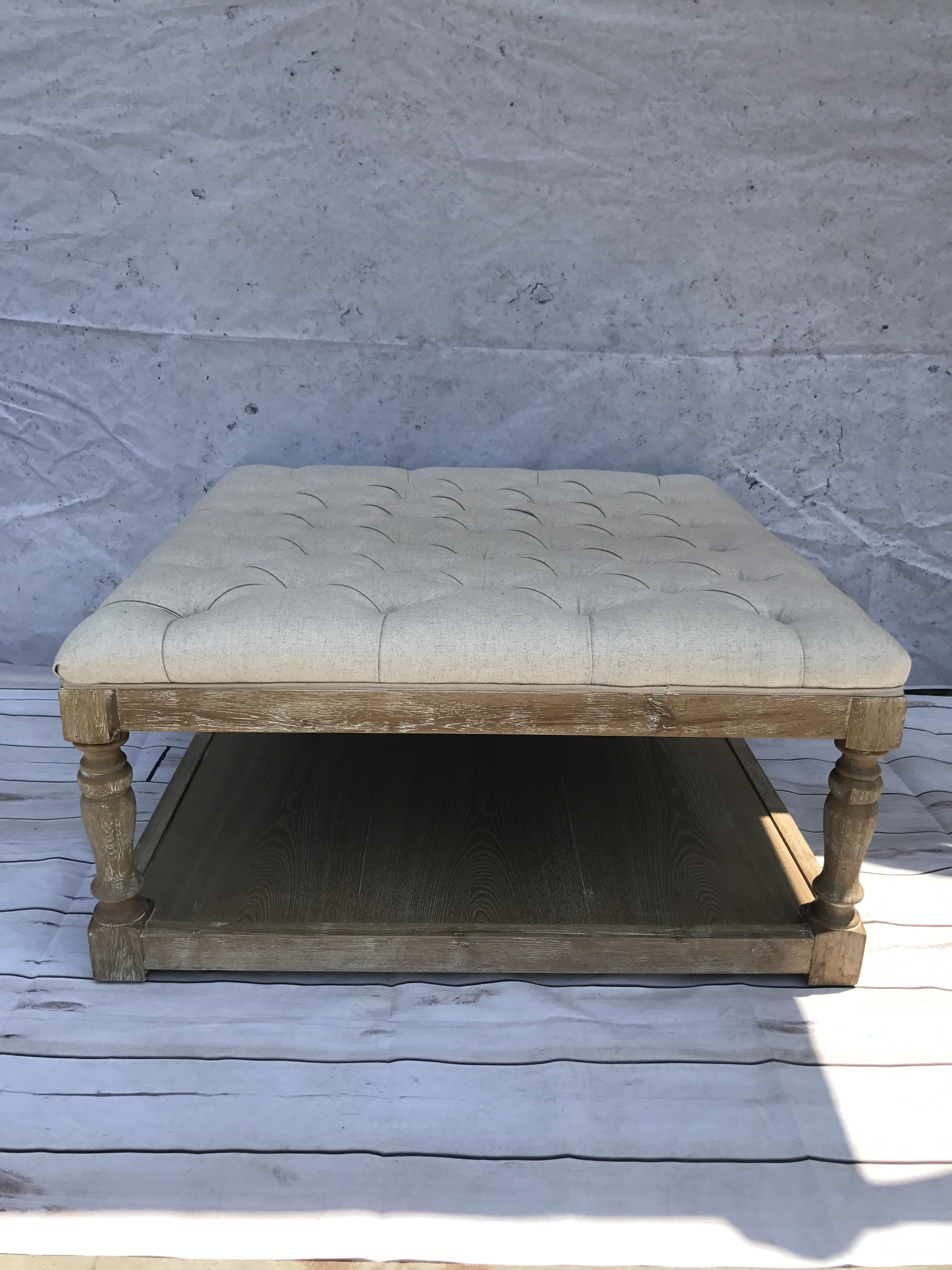 Custom Height Living Room French Style Ottoman Bench Sofa, Home Wooden Ottoman Vintage Benches