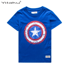 2016 Cotton Boys T-shirts Captain America Short Children t shirt For 1~11 Y Boy Cartoon Tops Tees Summer Kids Clothes CG050
