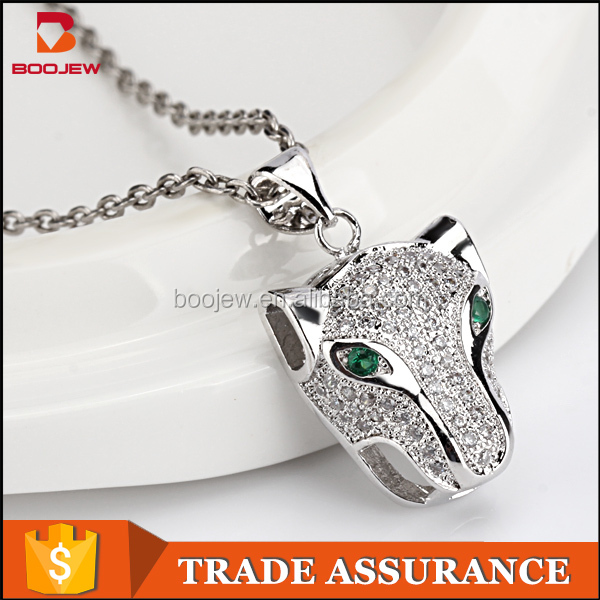 Unique animal cute leopard pendant necklace costume cz jewelry made in China factory