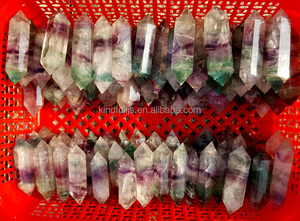 Natural Rainbow Fluorite Rock Crystal Points Green Fluorite Rock Quartz Crystal Prism For Sale