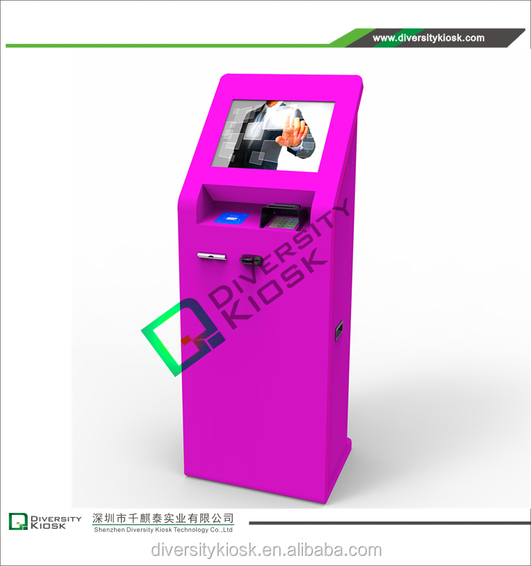 mobile kiosk with wheels win98/xp/vista and linux compatible usb interface ict bank note validator