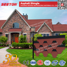 Asphalt Shingles Roofing Materials , Import Red Mosaic Glass Roof Tile