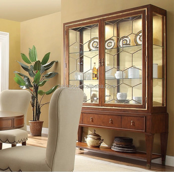 Classic dining room furniture solid wood glass door for Dining room display cabinets