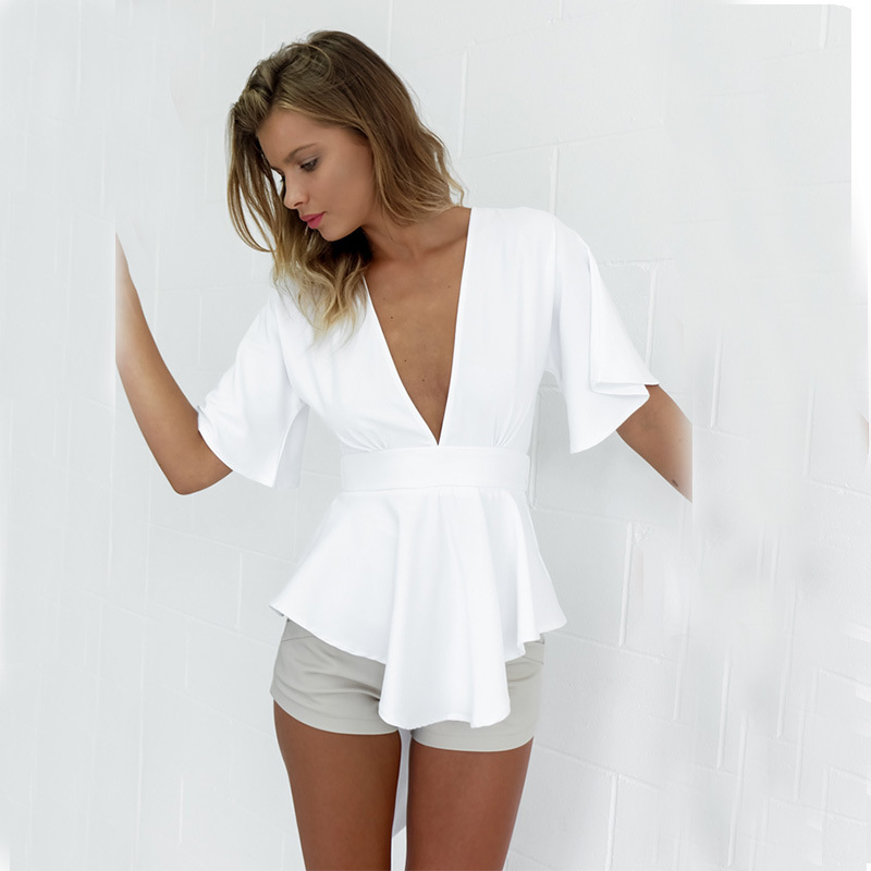 Z91224A Alibaba china new style deep v-neck tops for women 2016