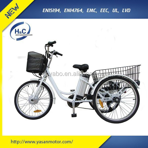 Steel frame KENDA 24 inch Three Wheels Electric Bike with rear basket for delivering cargo