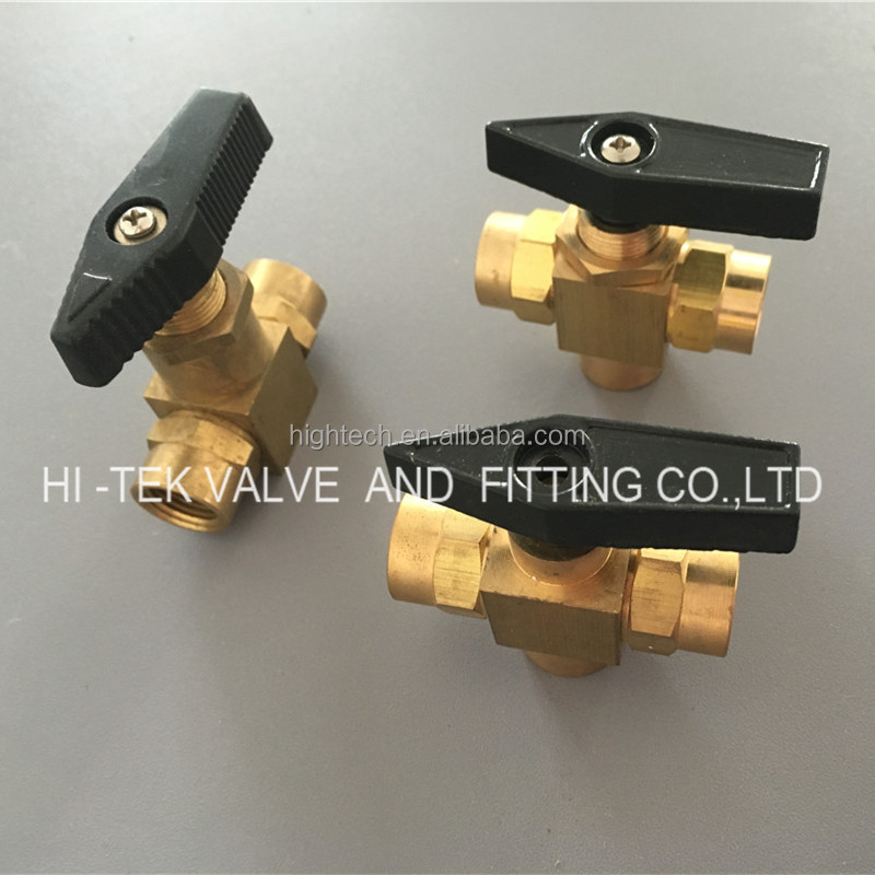 Brass ball valve with lock water meter three way ball valve