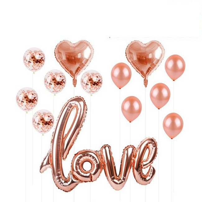 1set HAPPY BIRTHDAY Balloon Banner 16inch 10pcs Rose Gold Latex 12inch Rode Confetto 2pcs Star 18inch