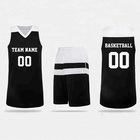 2017 2018 latest design custom basketball jersey reversible black basketball uniform set