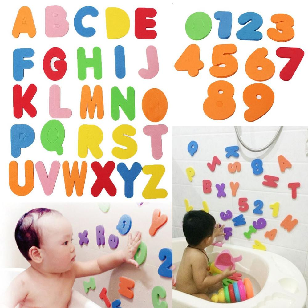 36PCs Alphanumeric Letter Bath Puzzle EVA Kids Baby Toys New Early Educational Kids Bath Funny Toy
