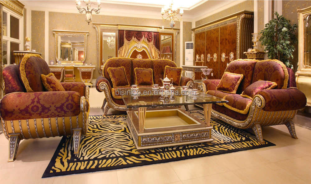 Luxury french baroque style golden living room sofa set for Sofa royal classic