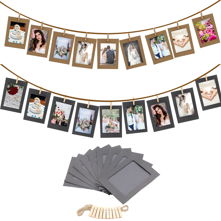 10PCS/set DIY Picture Holder with wooden clip Paper Photo banner For Baby Shower