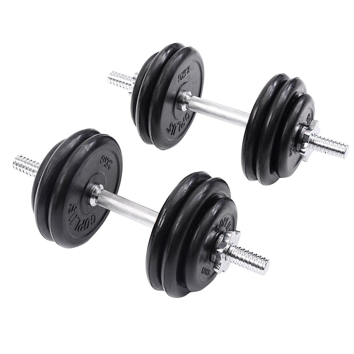 Weight Dumbbell Set 66 LB Adjustable Cap Gym Barbell Plates Body Workout - Suitable For Basic Toning And Strength Exercises - Bars Are Able To Connect Securely - Changeable Dumbbell Weight
