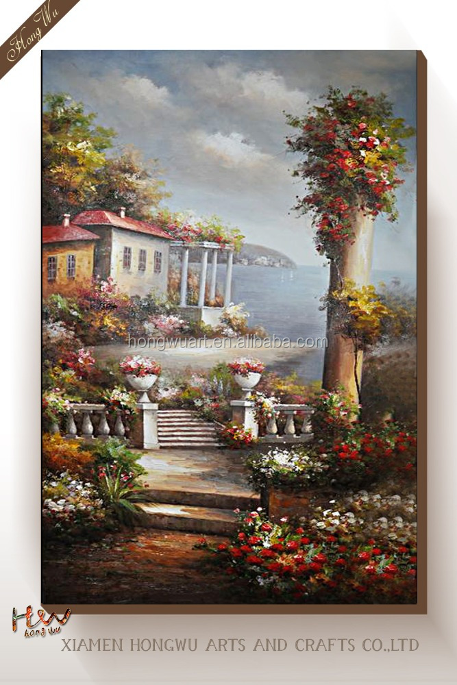 High Quality Fabric Painting Designs European Scenery Art Canvas Print Mediterranean Seascap Oil Painting by Number