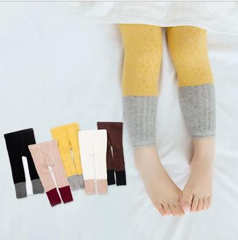 S12184B Girls Pencil Pant Autumn Winter Kids Korean Knitted Leggings Solid Color Legging Baby Toddler Ankle Luster Pencil Pants