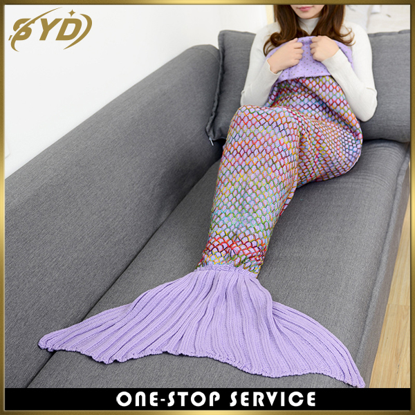 Colorful Lingge crochet weighted mermaid tail blanket