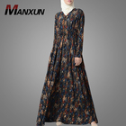 Turkish Style Multi Color Abstract Print Crepe Abaya Dress Islamic Clothing Muslim Jalabiya Kaftan